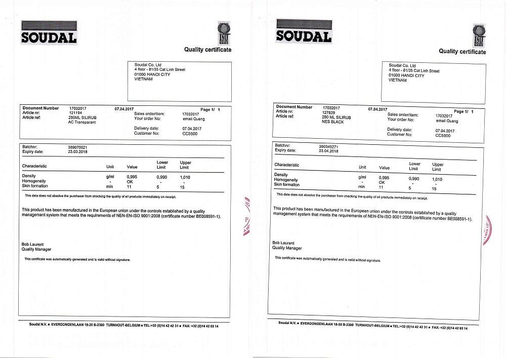 giấy chứng nhận keo soudal 2
