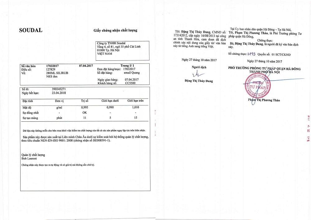 giấy chứng nhận keo soudal 3