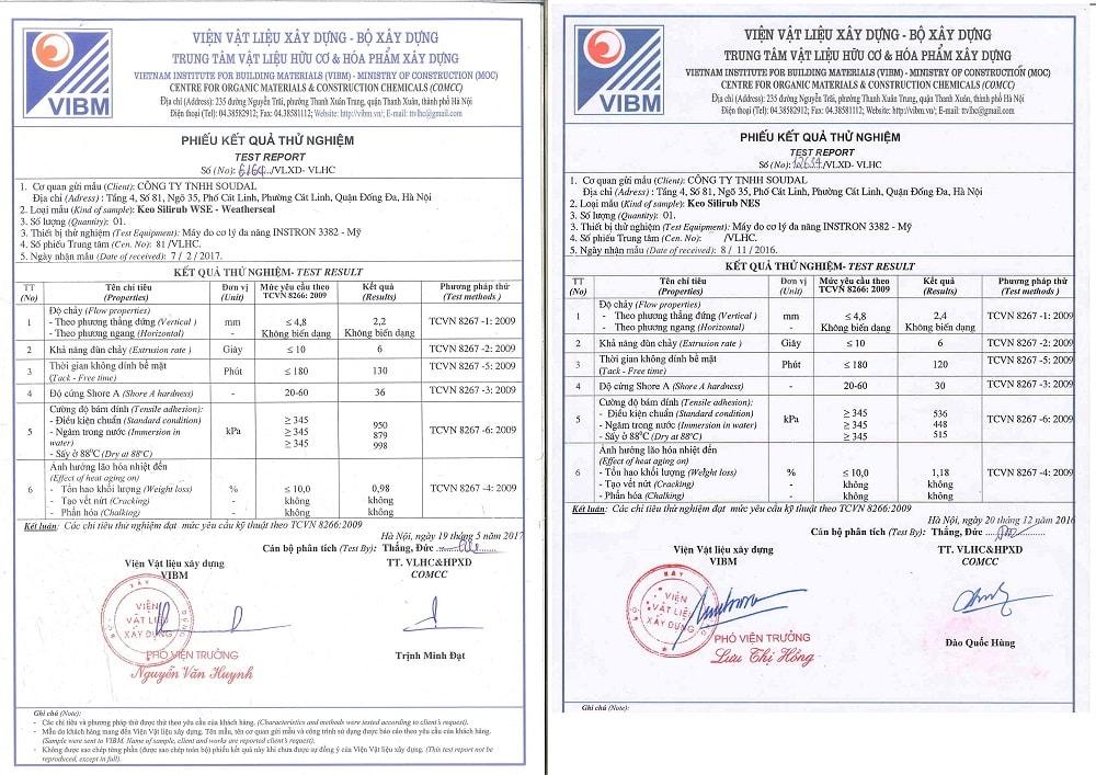 giấy chứng nhận keo soudal 1