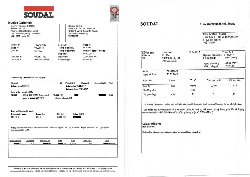 giấy chứng nhận keo soudal